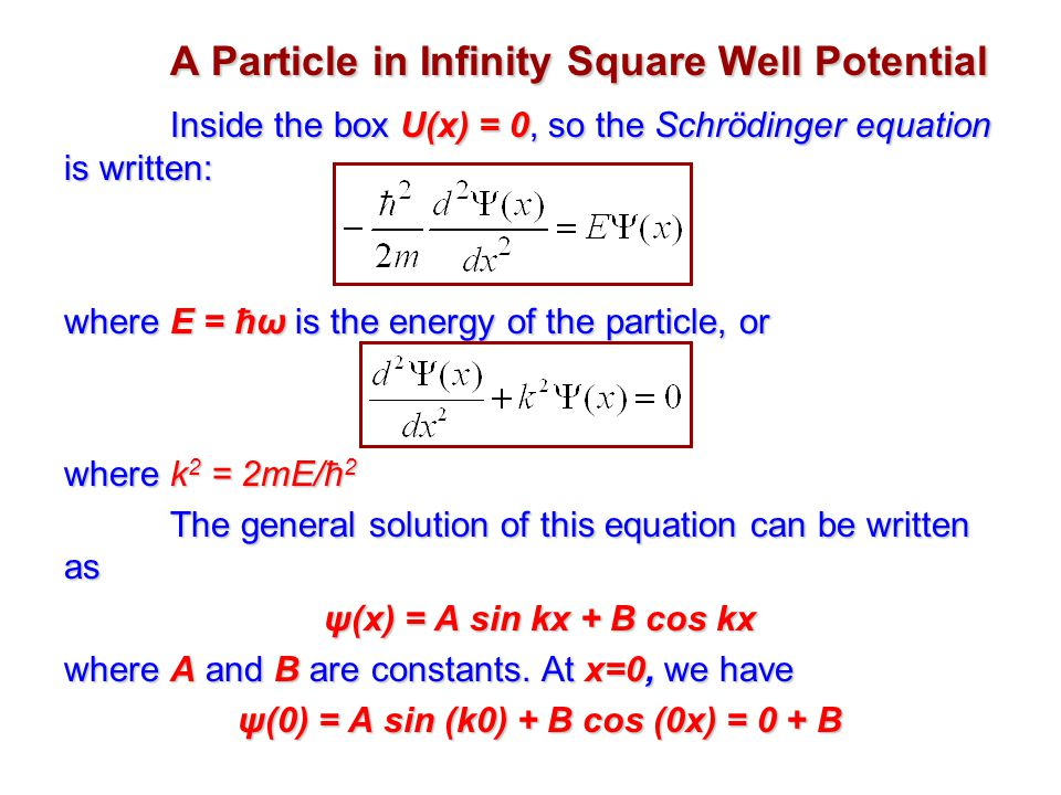 A Particle in Infinity Square Well Potential Inside the box U(x) = 0, so the Schrödinger equation is written: where E = ħω is the energy of the particle, or where k 2 = 2mE/ħ 2 The general solution of this equation can be written as ψ(x) = A sin kx + B cos kx where A and B are constants.