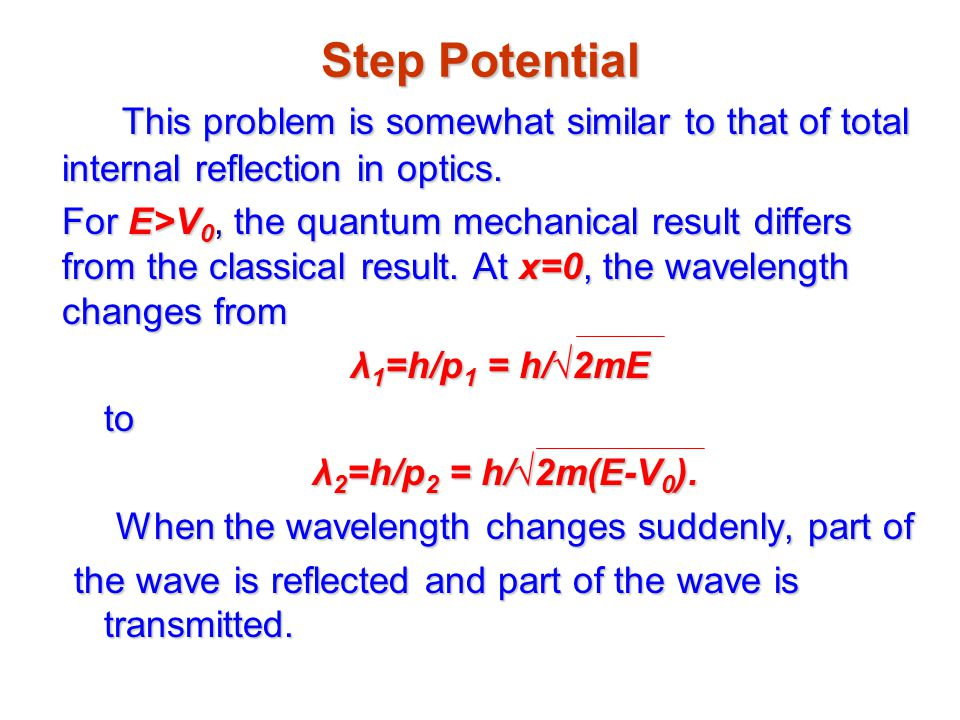 Step Potential This problem is somewhat similar to that of total internal reflection in optics.