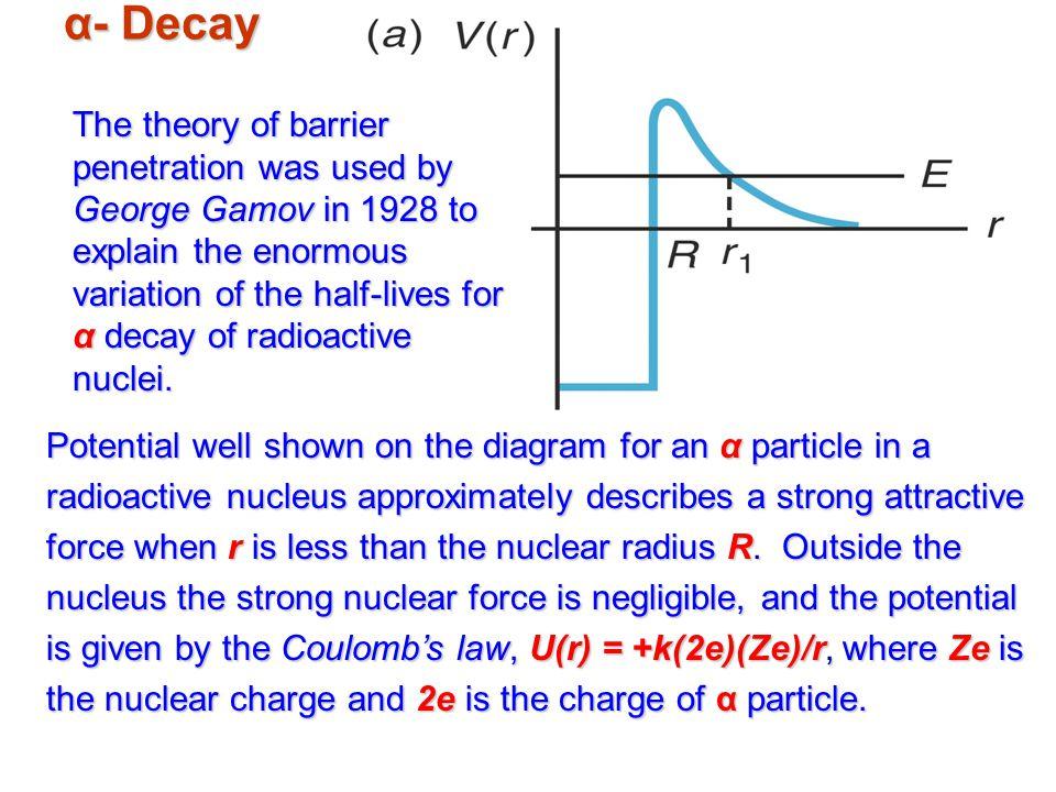 α- Decay Potential well shown on the diagram for an α particle in a radioactive nucleus approximately describes a strong attractive force when r is less than the nuclear radius R.