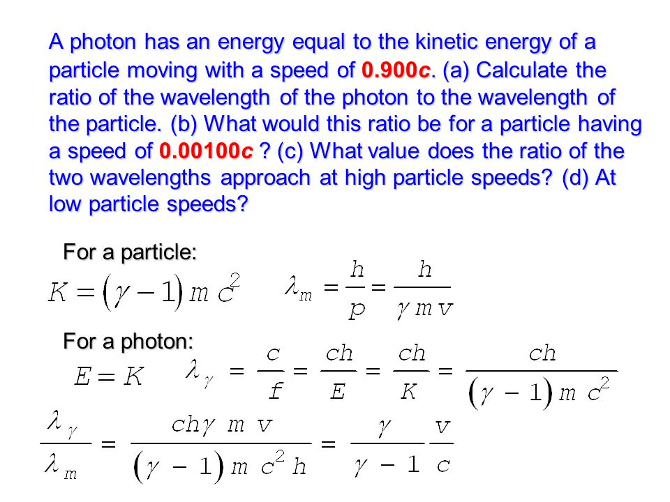 For a particle: For a photon: