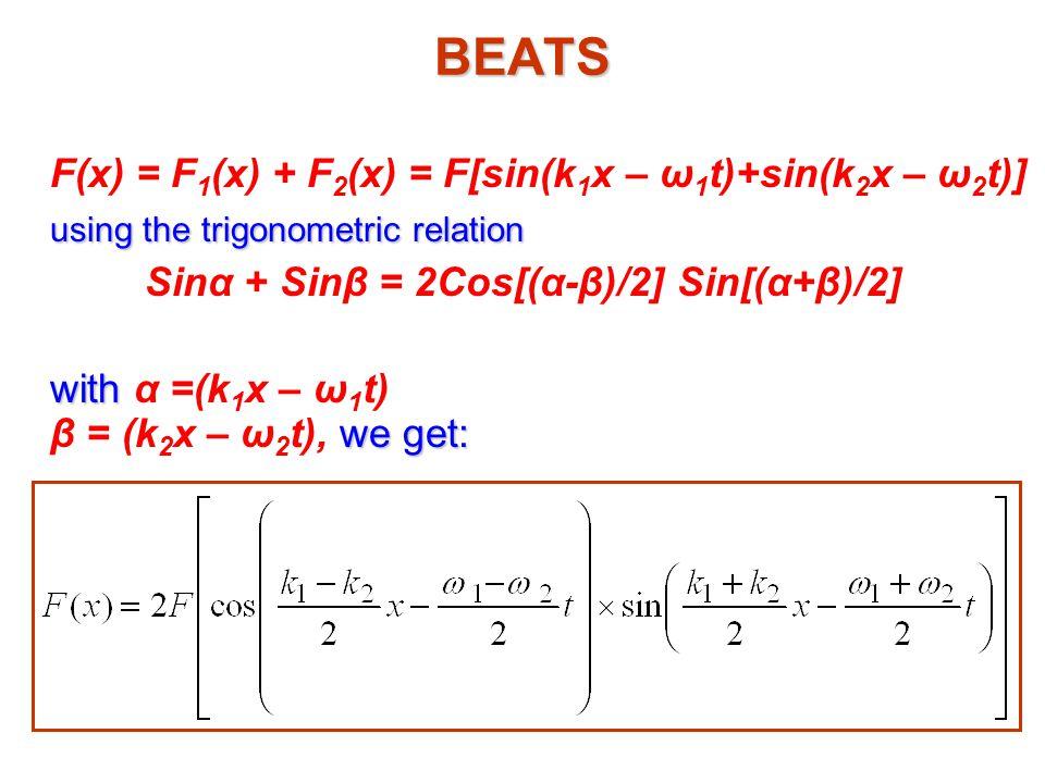 BEATS using the trigonometric relation Sinα + Sinβ = 2Cos[(α-β)/2] Sin[(α+β)/2] with we get: with α =(k 1 x – ω 1 t) β = (k 2 x – ω 2 t), we get: