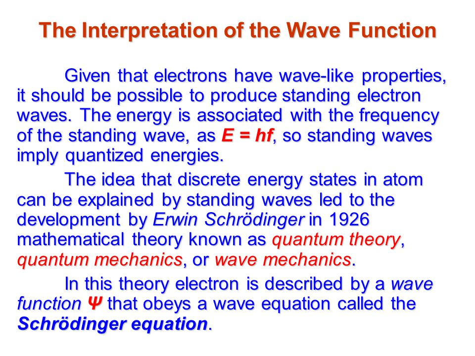 The Interpretation of the Wave Function Given that electrons have wave-like properties, it should be possible to produce standing electron waves.