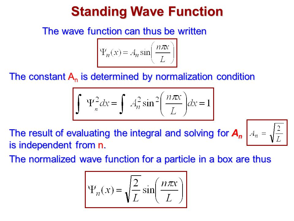 Standing Wave Function The wave function can thus be written The constant A n is determined by normalization condition The result of evaluating the integral and solving for A n is independent from n.