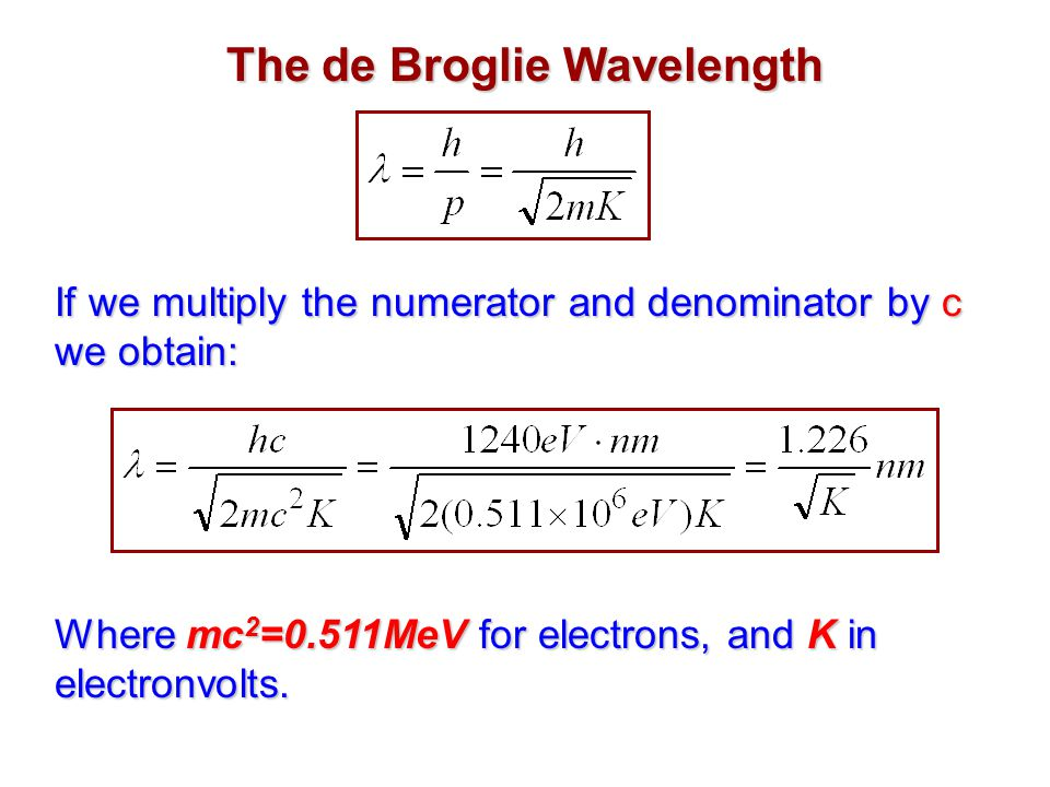 The de Broglie Wavelength If we multiply the numerator and denominator by c we obtain: Where mc 2 =0.511MeV for electrons, and K in electronvolts.