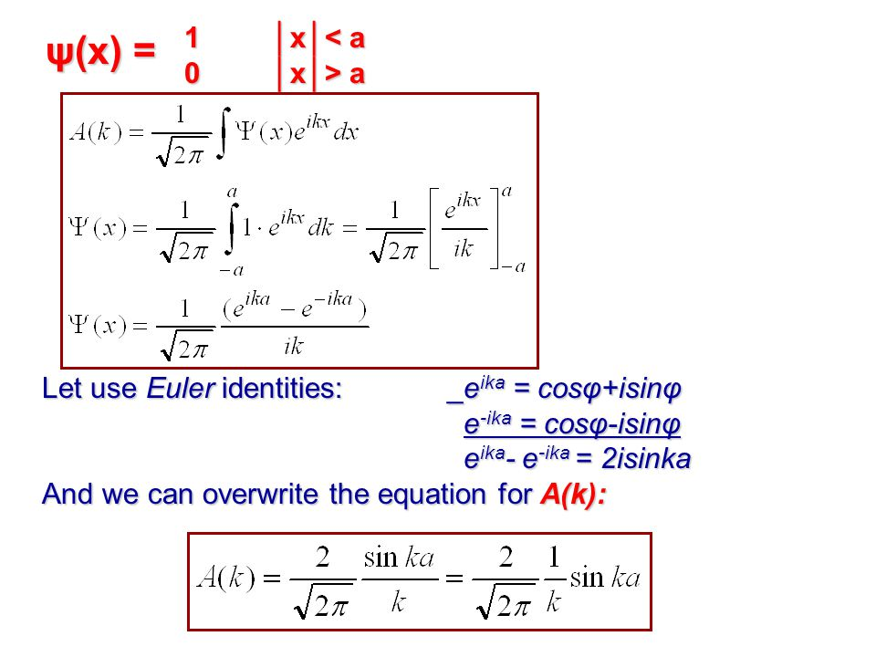 1│x│< a 0│x│> a Let use Euler identities: _e ika = cosφ+isinφ e -ika = cosφ-isinφ e -ika = cosφ-isinφ e ika - e -ika = 2isinka e ika - e -ika = 2isinka And we can overwrite the equation for A(k): ψ(x) =