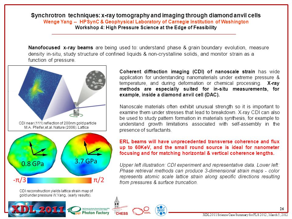XDL2011 Science Case Summary for FLS 2012, March 5, 2012 Coherent diffraction imaging (CDI) of nanoscale strain has wide application for understanding nanomaterials under extreme pressure & temperature, and during deformation or chemical processing.