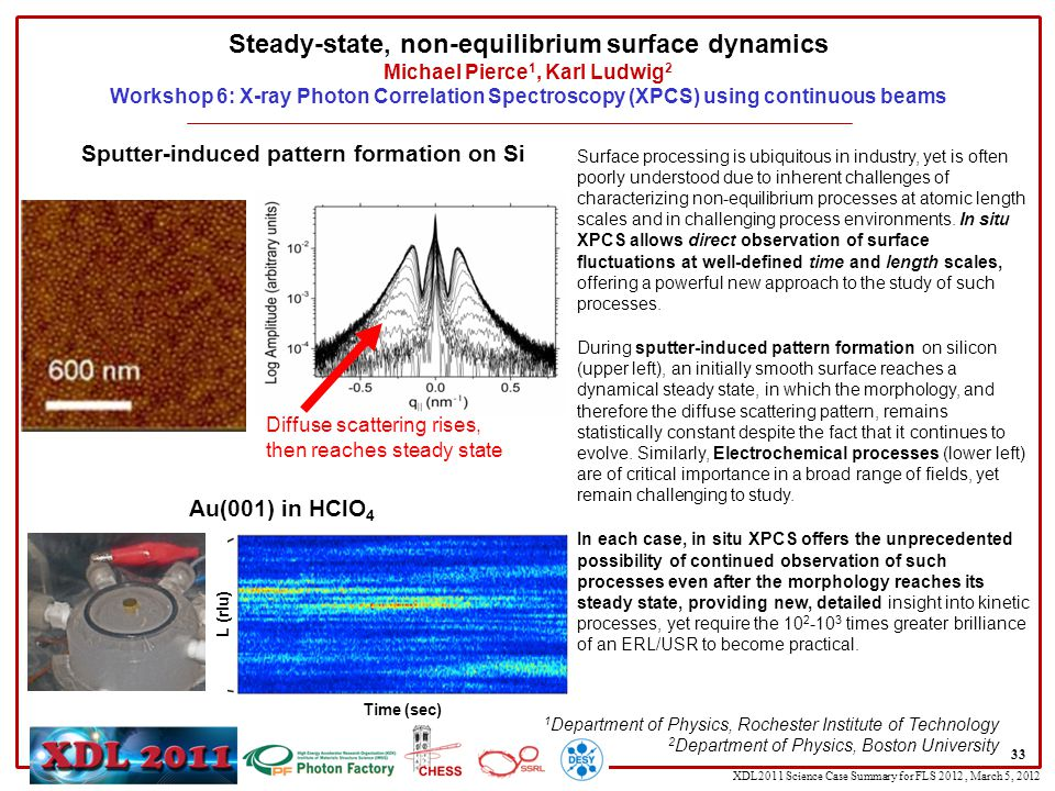 XDL2011 Science Case Summary for FLS 2012, March 5, 2012 Steady-state, non-equilibrium surface dynamics Michael Pierce 1, Karl Ludwig 2 Workshop 6: X-ray Photon Correlation Spectroscopy (XPCS) using continuous beams 33 Surface processing is ubiquitous in industry, yet is often poorly understood due to inherent challenges of characterizing non-equilibrium processes at atomic length scales and in challenging process environments.