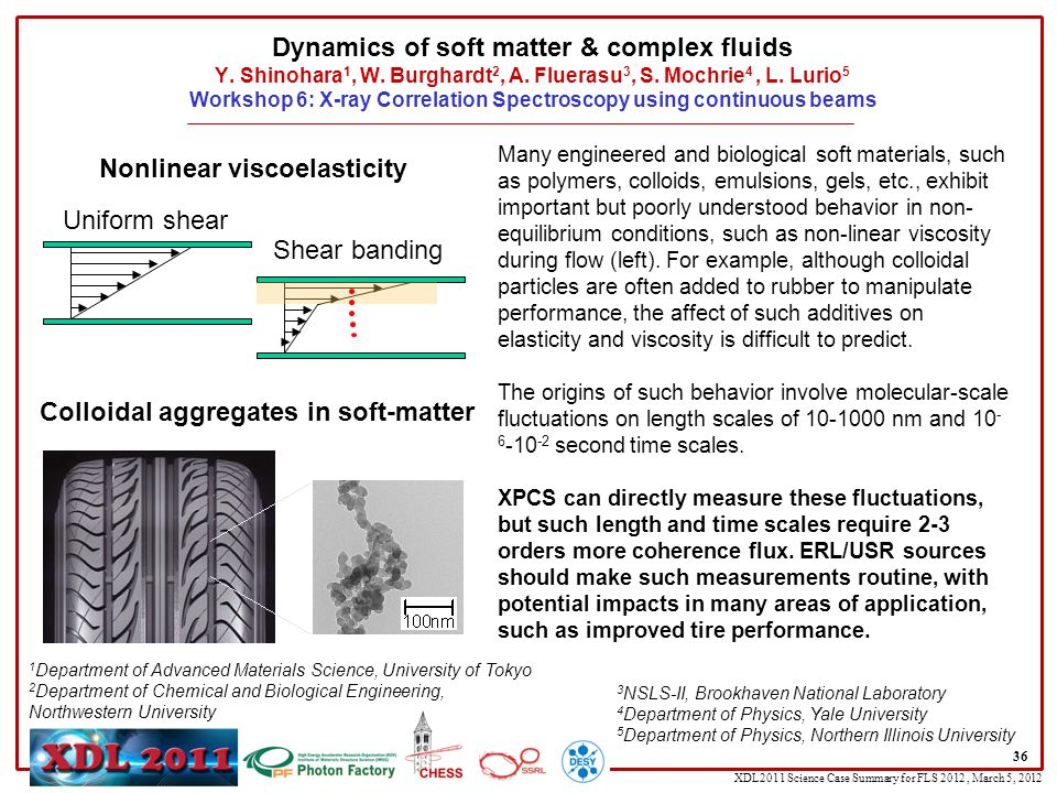 XDL2011 Science Case Summary for FLS 2012, March 5, 2012 Dynamics of soft matter & complex fluids Y.