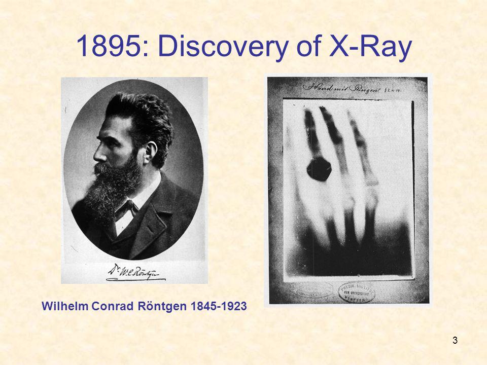 3 1895: Discovery of X-Ray Wilhelm Conrad Röntgen 1845-1923