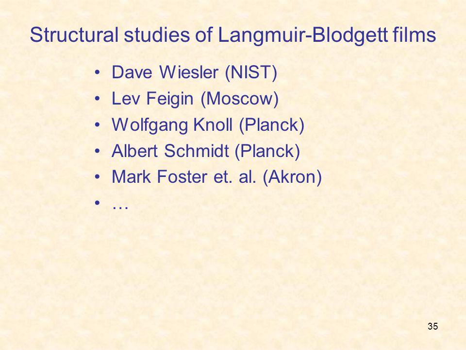 35 Structural studies of Langmuir-Blodgett films Dave Wiesler (NIST) Lev Feigin (Moscow) Wolfgang Knoll (Planck) Albert Schmidt (Planck) Mark Foster et.