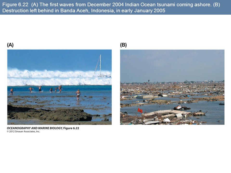 Figure 6.22 (A) The first waves from December 2004 Indian Ocean tsunami coming ashore.