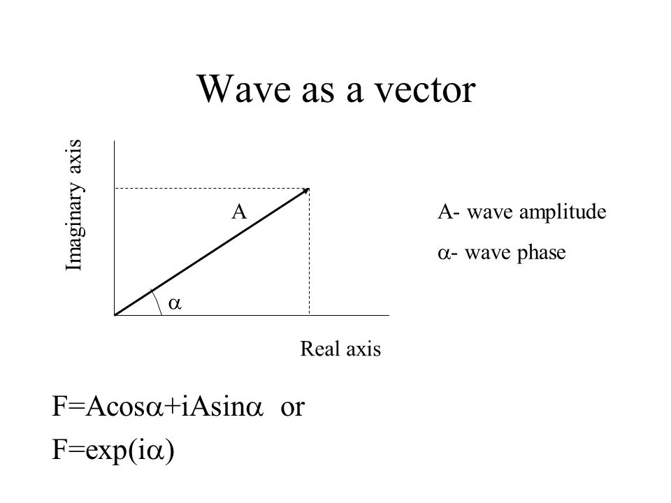 Wave as a vector F=Acos  +iAsin  or F=exp(i  )  A Real axis Imaginary axis A- wave amplitude  - wave phase