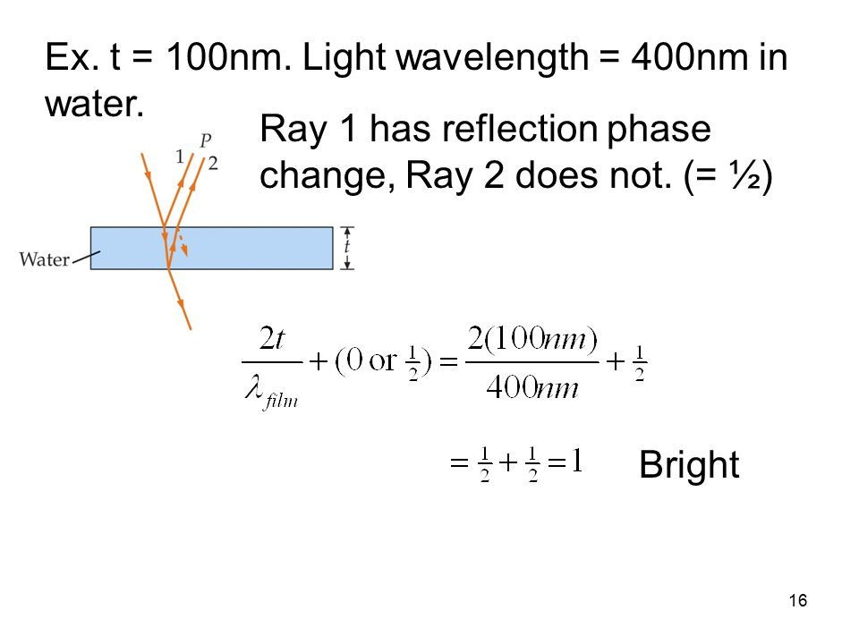 16 Ex. t = 100nm. Light wavelength = 400nm in water.