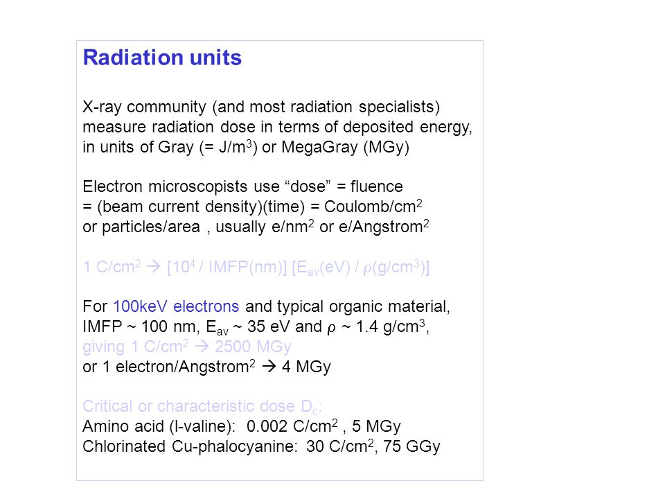 Radiation units X-ray community (and most radiation specialists) measure radiation dose in terms of deposited energy, in units of Gray (= J/m 3 ) or MegaGray (MGy) Electron microscopists use dose = fluence = (beam current density)(time) = Coulomb/cm 2 or particles/area, usually e/nm 2 or e/Angstrom 2 1 C/cm 2  [10 4 / IMFP(nm)] [E av (eV) /  (g/cm 3 )] For 100keV electrons and typical organic material, IMFP ~ 100 nm, E av ~ 35 eV and  ~ 1.4 g/cm 3, giving 1 C/cm 2  2500 MGy or 1 electron/Angstrom 2  4 MGy Critical or characteristic dose D c : Amino acid (l-valine): 0.002 C/cm 2, 5 MGy Chlorinated Cu-phalocyanine: 30 C/cm 2, 75 GGy