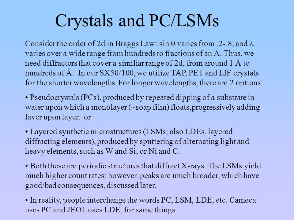 Crystals and PC/LSMs Consider the order of 2d in Braggs Law: sin  varies from.2-.8, and varies over a wide range from hundreds to fractions of an A.