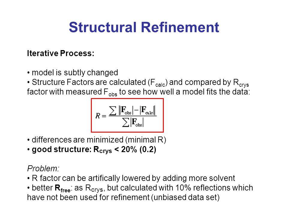 Structural Refinement Iterative Process: model is subtly changed Structure Factors are calculated (F calc ) and compared by R crys factor with measure