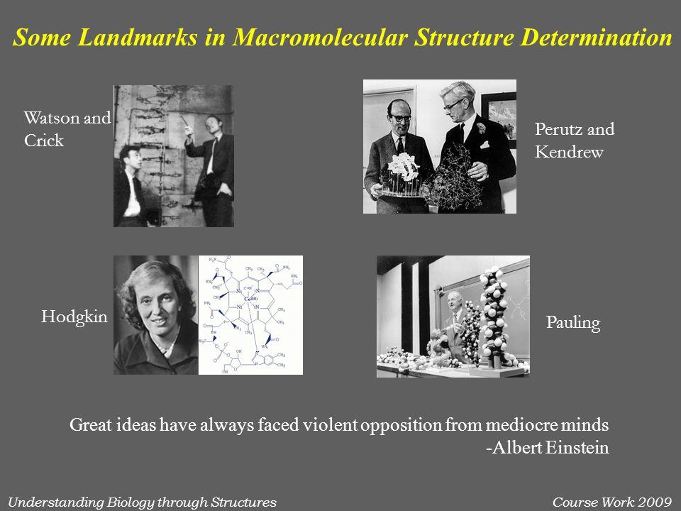 Understanding Biology through StructuresCourse Work 2009 Some Landmarks in Macromolecular Structure Determination Watson and Crick Perutz and Kendrew Hodgkin Pauling Great ideas have always faced violent opposition from mediocre minds -Albert Einstein