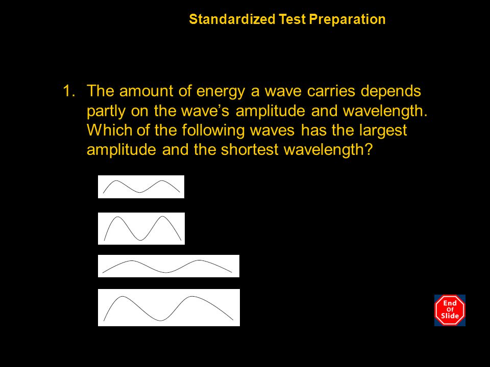 1.The amount of energy a wave carries depends partly on the wave's amplitude and wavelength.