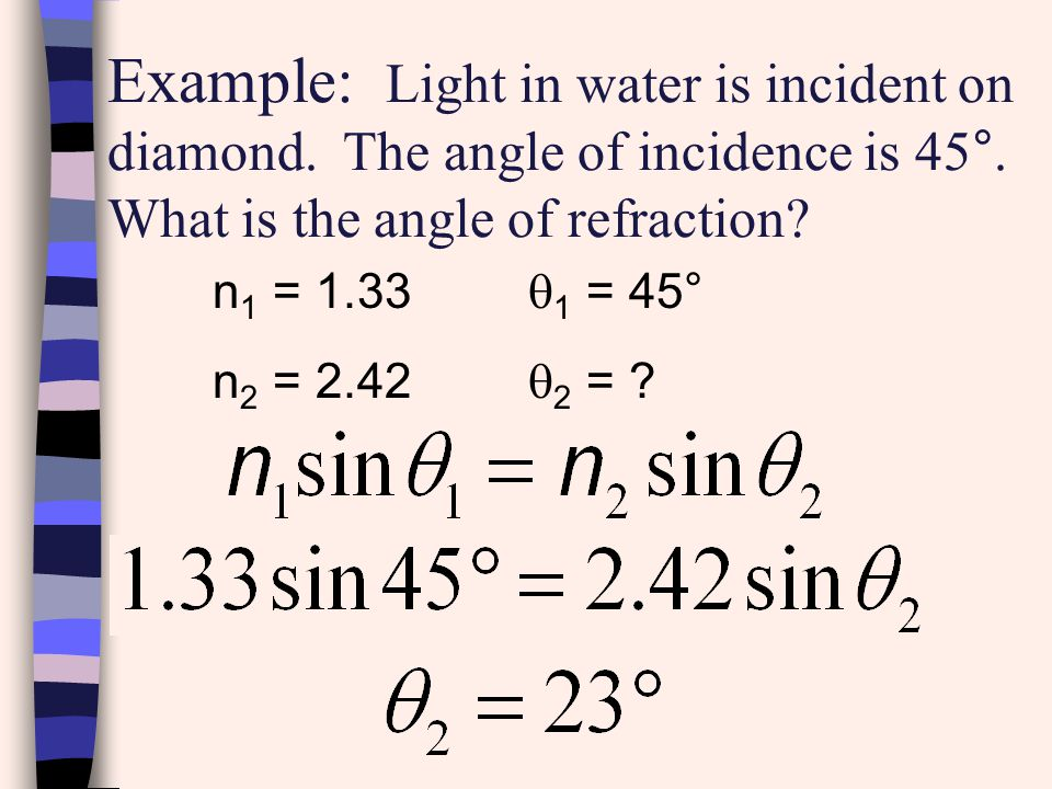 Snell ' s Law Equation: