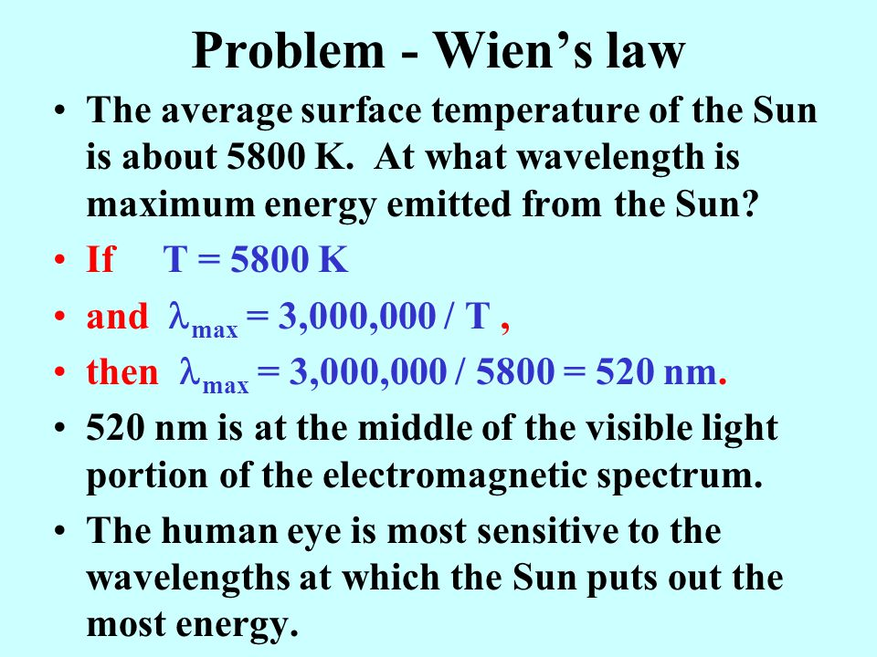 Problem - Wien's law The average surface temperature of the Sun is about 5800 K.