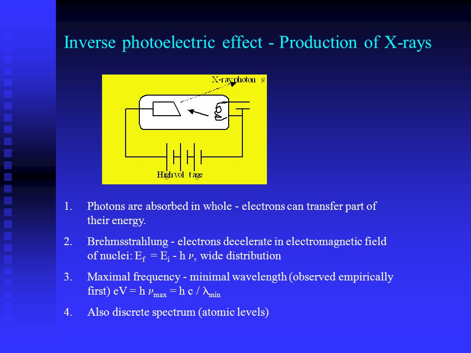 Inverse photoelectric effect - Production of X-rays 1.