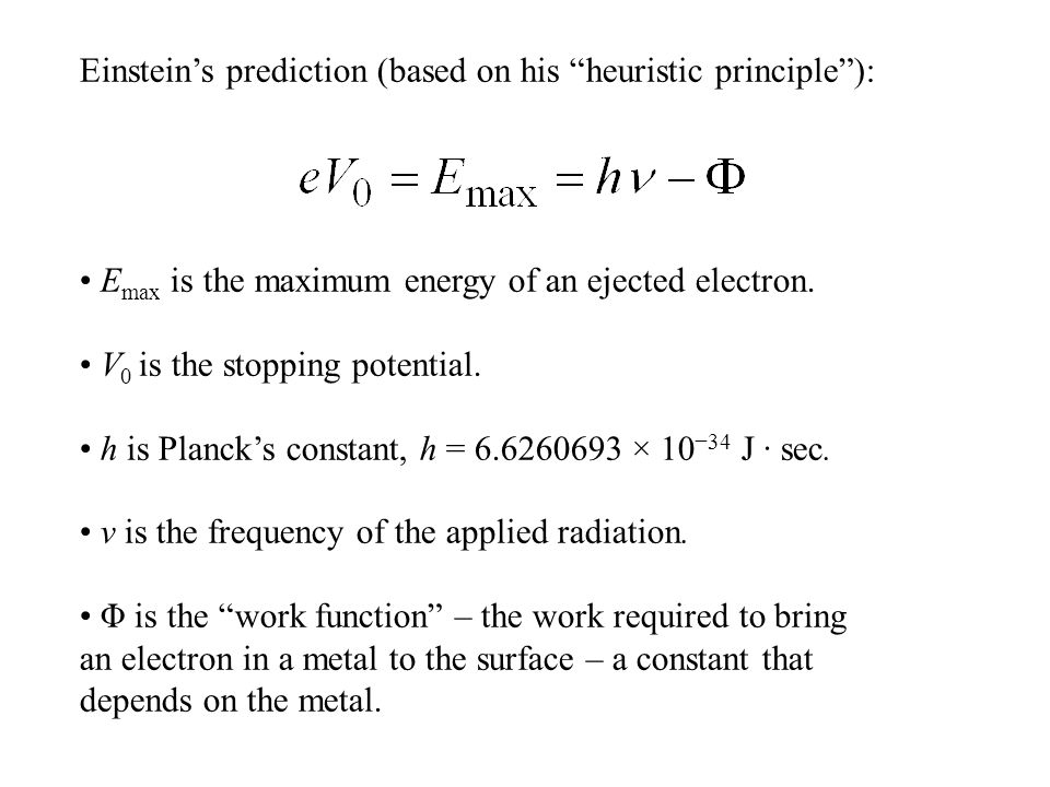Einstein's prediction (based on his heuristic principle ): E max is the maximum energy of an ejected electron.