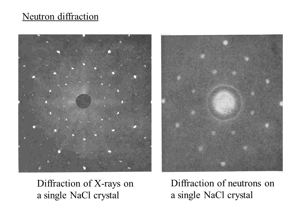 Neutron diffraction Diffraction of X-rays on a single NaCl crystal Diffraction of neutrons on a single NaCl crystal