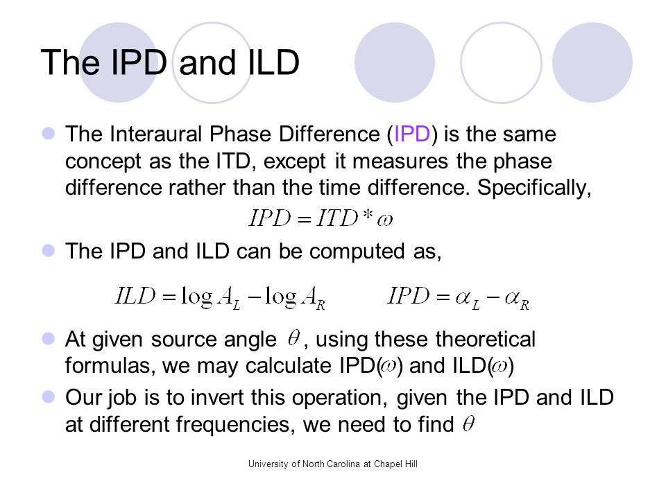 University of North Carolina at Chapel Hill The IPD and ILD The Interaural Phase Difference (IPD) is the same concept as the ITD, except it measures the phase difference rather than the time difference.