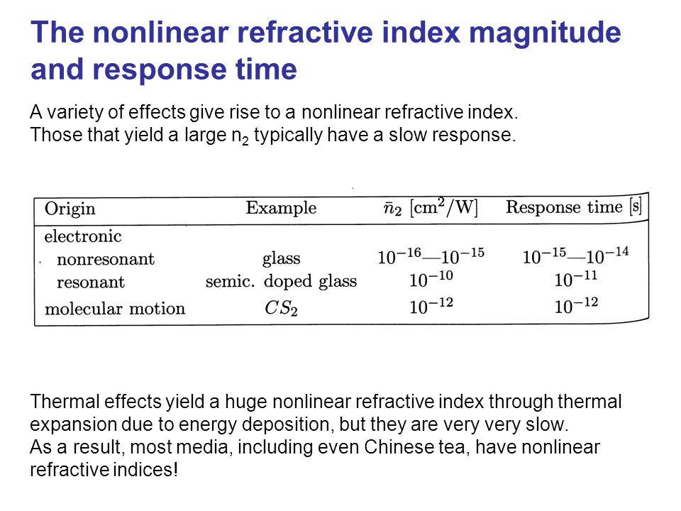 The nonlinear refractive index magnitude and response time A variety of effects give rise to a nonlinear refractive index. Those that yield a large n