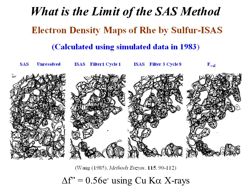 """What is the Limit of the SAS Method  f"""" = 0.56e - using Cu K  X-rays"""