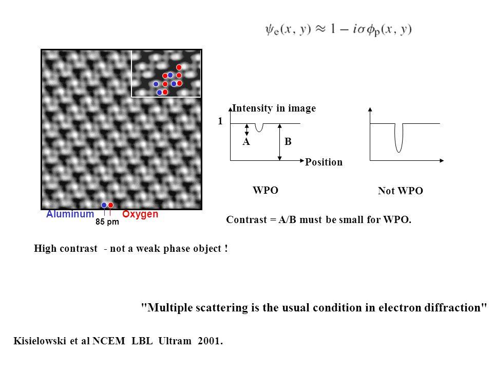 85 pm Aluminum Oxygen Kisielowski et al NCEM LBL Ultram 2001. High contrast - not a weak phase object ! WPO Not WPO