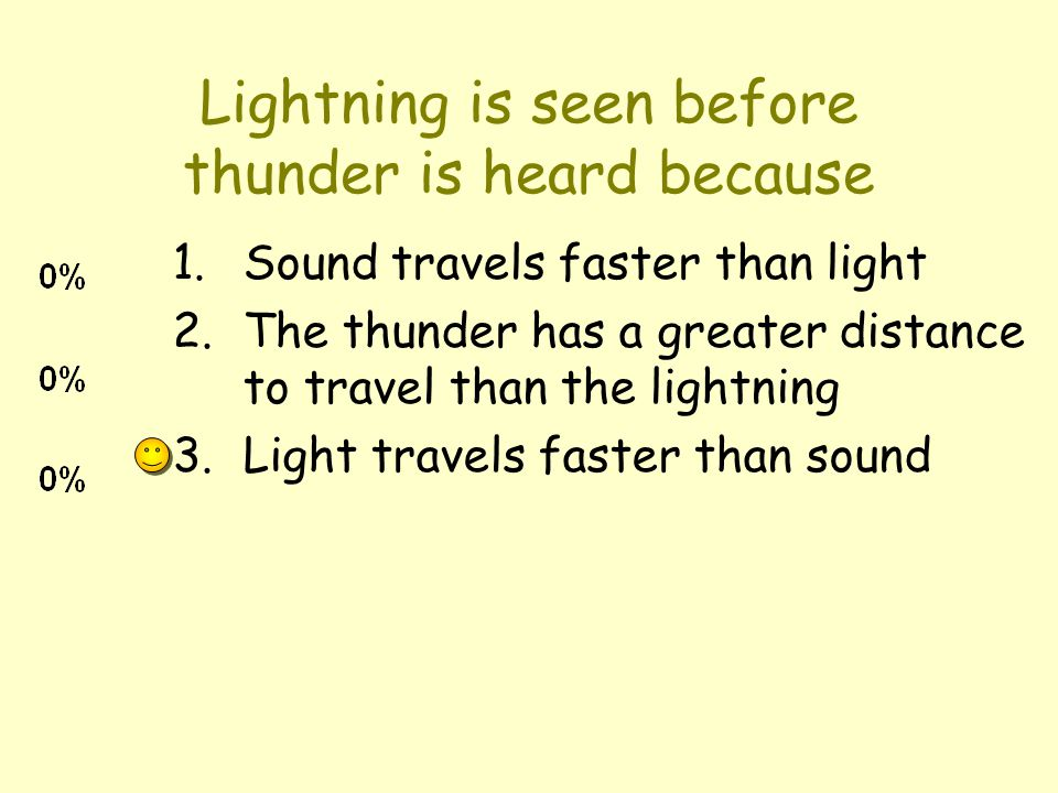 Lightning is seen before thunder is heard because 1.Sound travels faster than light 2.The thunder has a greater distance to travel than the lightning 3.Light travels faster than sound