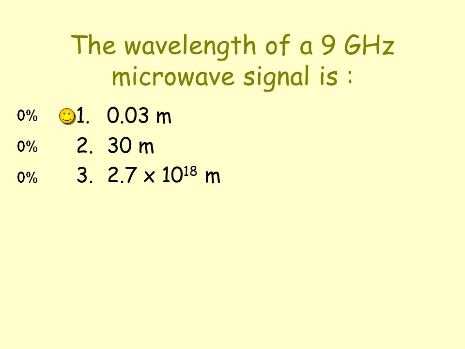 The wavelength of a 9 GHz microwave signal is : 1.0.03 m 2.30 m 3.2.7 x 10 18 m