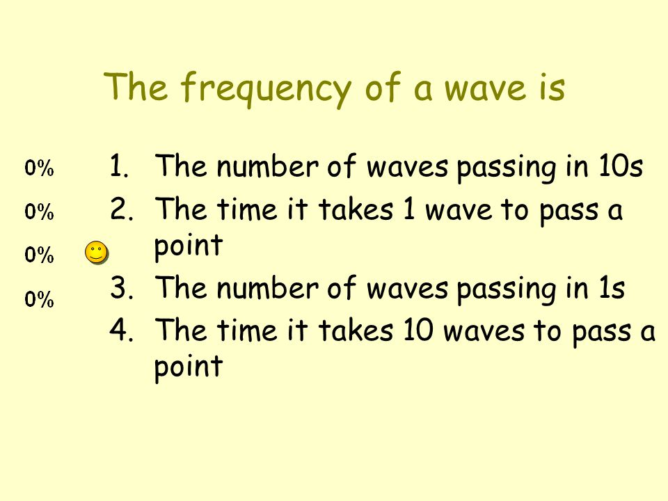 The frequency of a wave is 1.The number of waves passing in 10s 2.The time it takes 1 wave to pass a point 3.The number of waves passing in 1s 4.The time it takes 10 waves to pass a point