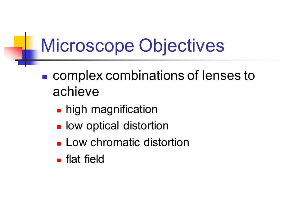 Microscope Objectives complex combinations of lenses to achieve high magnification low optical distortion Low chromatic distortion flat field