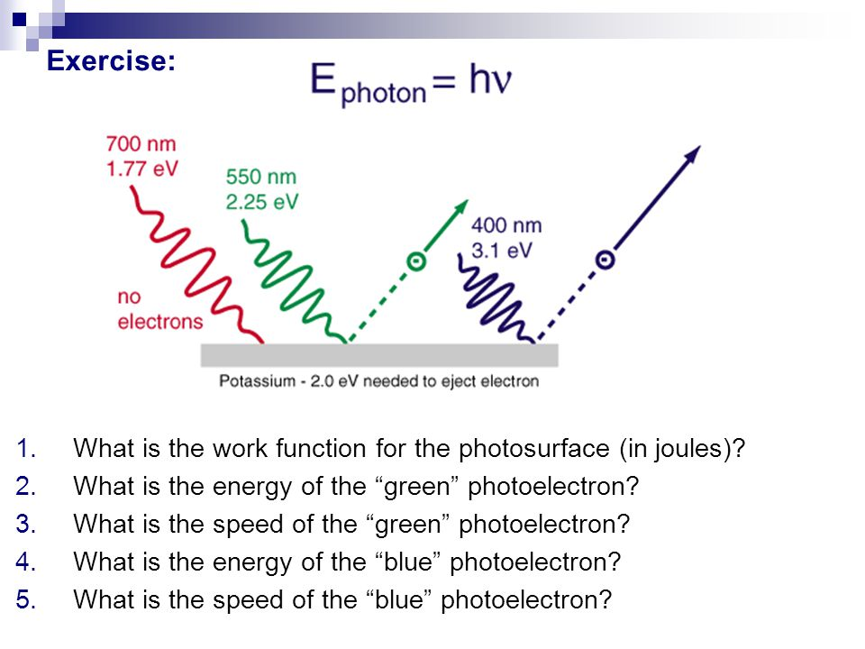 "Exercise: 1.What is the work function for the photosurface (in joules)? 2.What is the energy of the ""green"" photoelectron? 3.What is the speed of the"