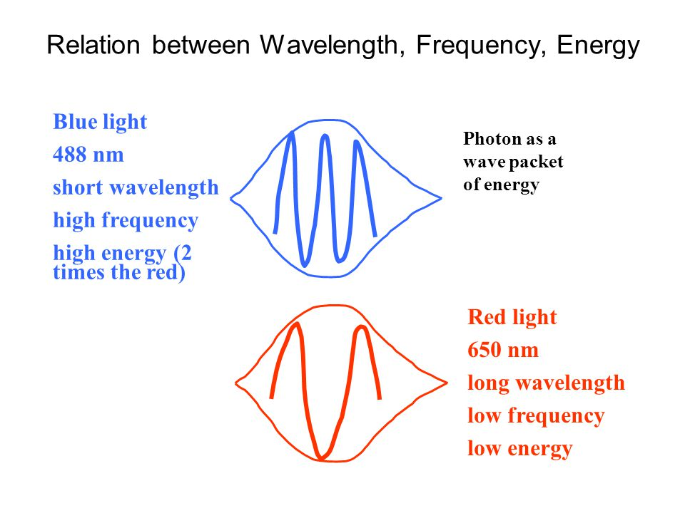 Relation between Wavelength, Frequency, Energy Blue light 488 nm short wavelength high frequency high energy (2 times the red) Red light 650 nm long wavelength low frequency low energy Photon as a wave packet of energy
