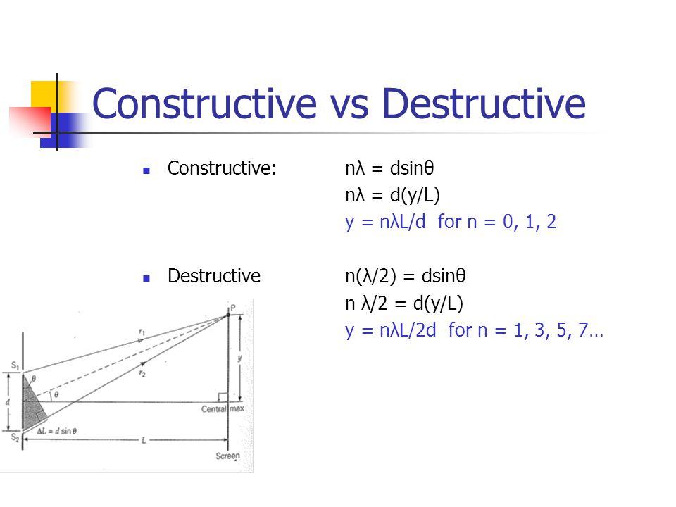 Constructive vs Destructive Constructive: nλ = dsinθ nλ = d(y/L) y = nλL/d for n = 0, 1, 2 Destructiven(λ/2) = dsinθ n λ/2 = d(y/L) y = nλL/2d for n = 1, 3, 5, 7…