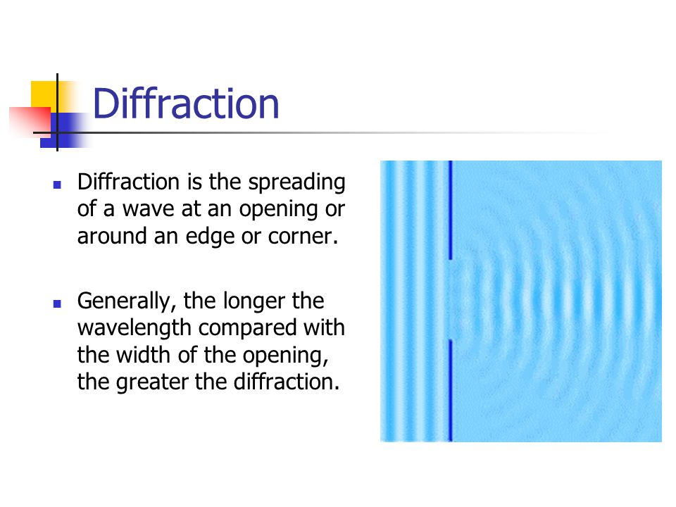 Diffraction Diffraction is the spreading of a wave at an opening or around an edge or corner.