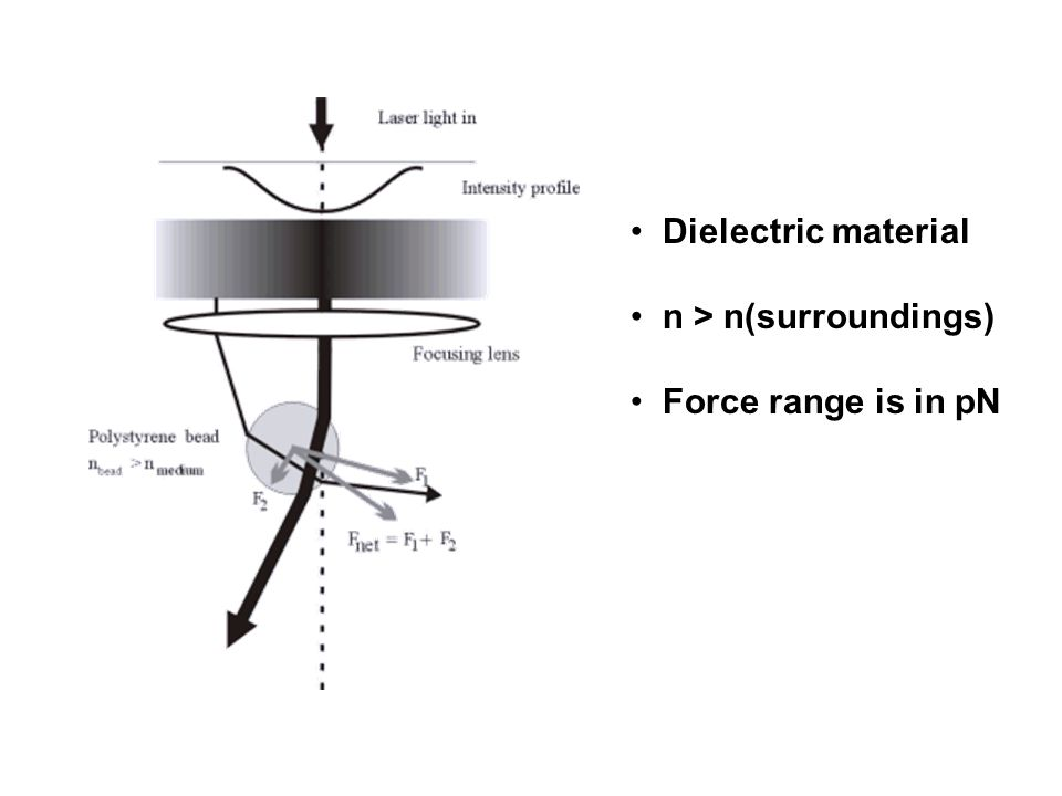Dielectric material n > n(surroundings) Force range is in pN