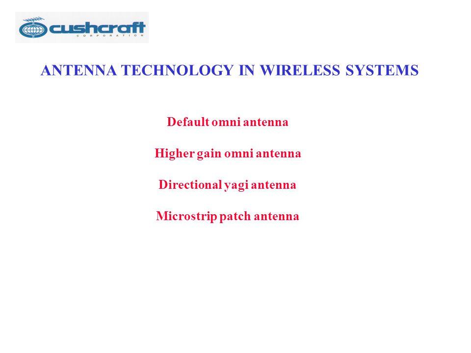 ANTENNA TECHNOLOGY IN WIRELESS SYSTEMS Default omni antenna Higher gain omni antenna Directional yagi antenna Microstrip patch antenna