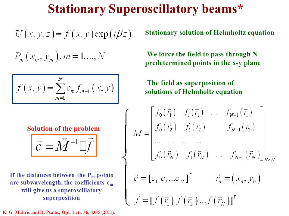 Stationary Superoscillatory beams* Stationary solution of Helmholtz equation We force the field to pass through N predetermined points in the x-y plan