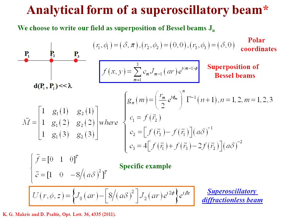Analytical form of a superoscillatory beam* We choose to write our field as superposition of Bessel beams J n Superoscillatory diffractionless beam Su