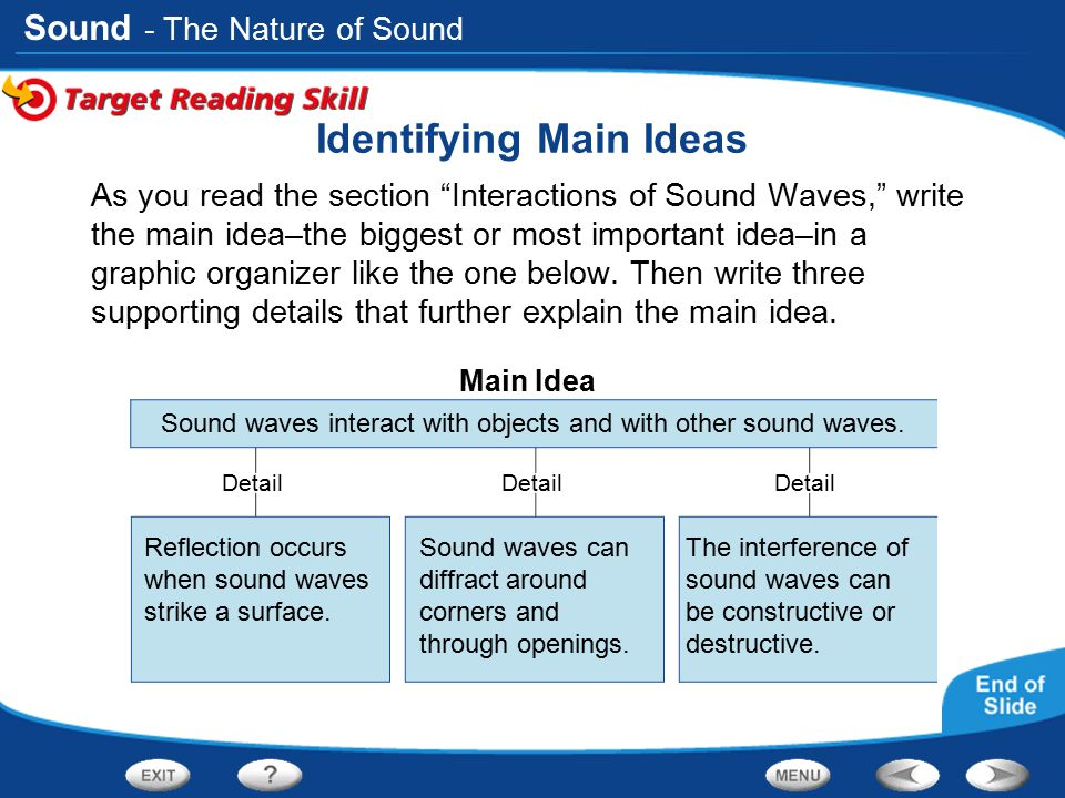 """Sound Main Idea Detail Identifying Main Ideas As you read the section """"Interactions of Sound Waves,"""" write the main idea–the biggest or most important"""
