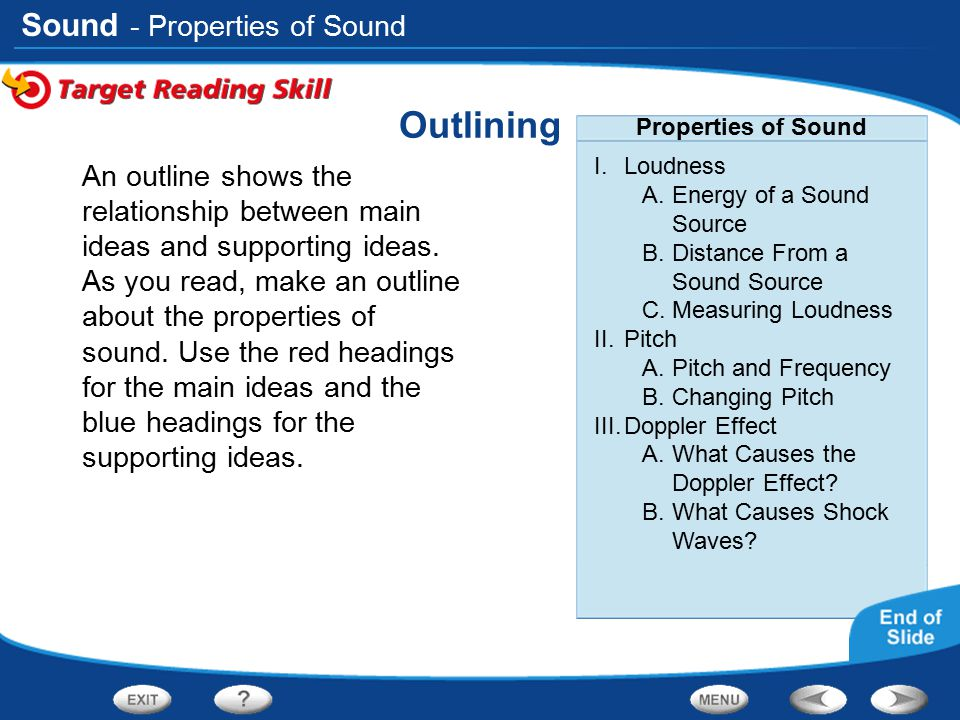 Sound Outlining An outline shows the relationship between main ideas and supporting ideas. As you read, make an outline about the properties of sound.