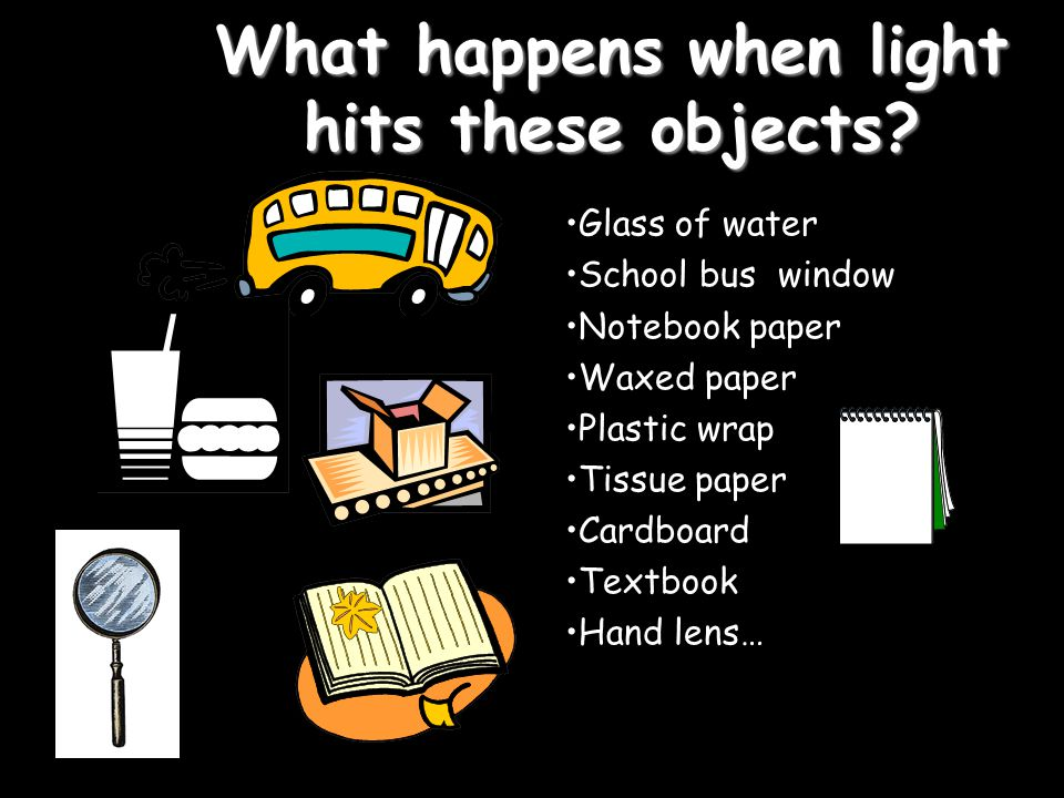 What happens when light hits these objects? Glass of water School bus window Notebook paper Waxed paper Plastic wrap Tissue paper Cardboard Textbook H