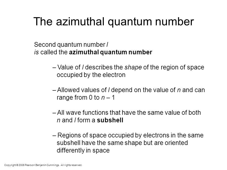 Quantum Numbers s p d f Angular Momentum Quantum # l 2. Angular Momentum Quantum # ( l ) –Energy sublevel –Shape of the orbital Courtesy Christy Johan