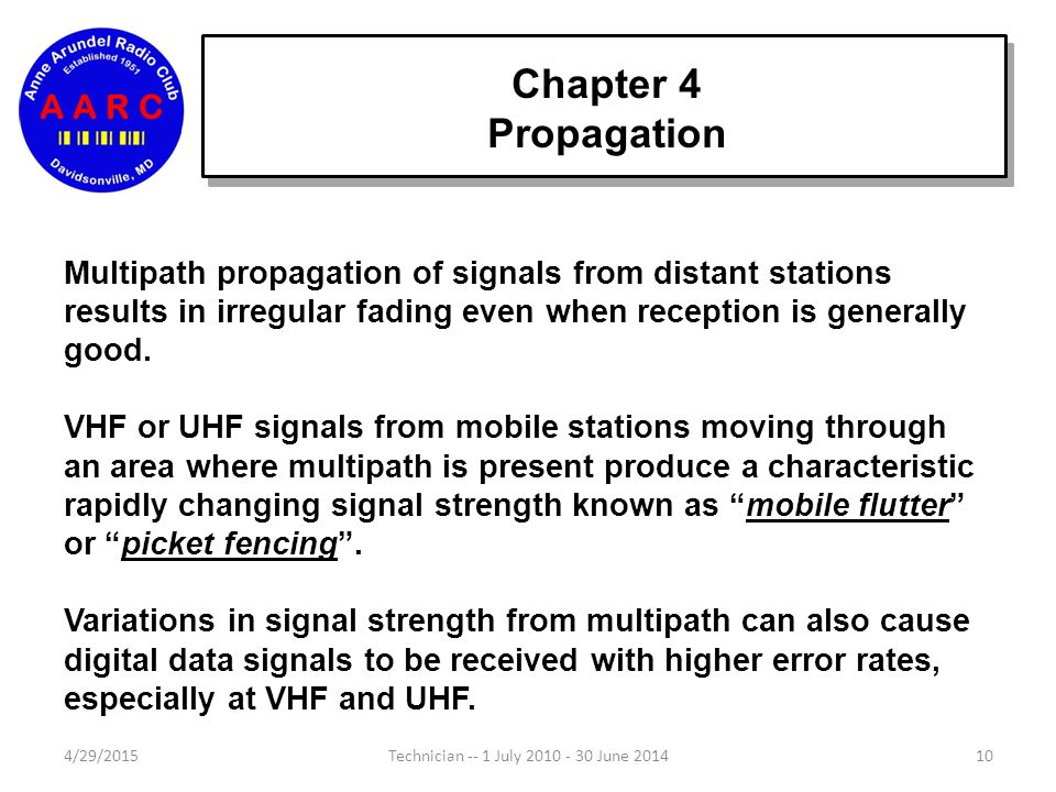 Chapter 4 Propagation Multipath propagation of signals from distant stations results in irregular fading even when reception is generally good.