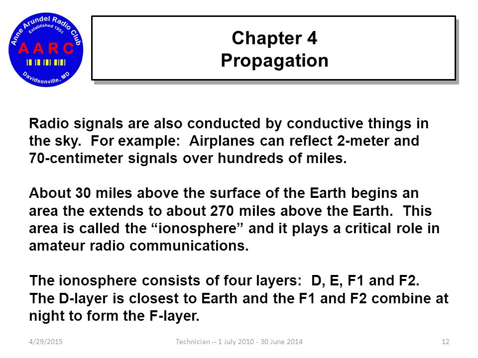 Chapter 4 Propagation Radio signals are also conducted by conductive things in the sky.