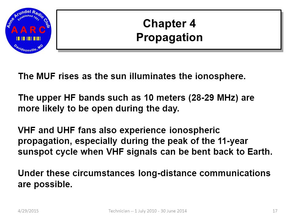 Chapter 4 Propagation Higher frequencies are bent less than lower frequencies. At VHF and higher frequencies, the waves usually pass through the ionos